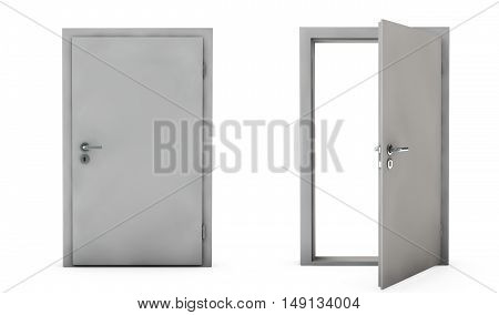 Closed and Open Doors Isolated 3D render