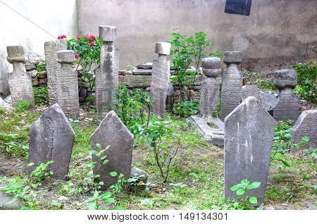 A turkish Cemetery in a street of Istanbul city Turkey