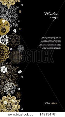 Winter silver abstract design with gold and white snowflakes and stars and black background. Trend golden design. Vertical border and text place. Vector illustration.