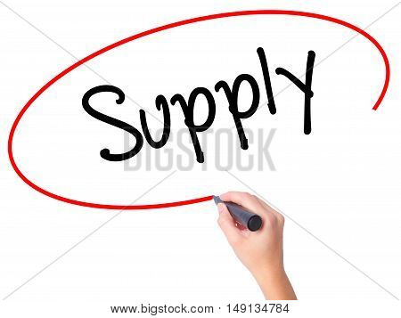 Women Hand Writing Supply With Black Marker On Visual Screen