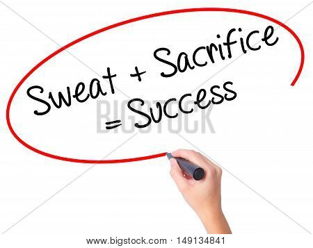 Women Hand Writing Sweat + Sacrifice = Success With Black Marker On Visual Screen