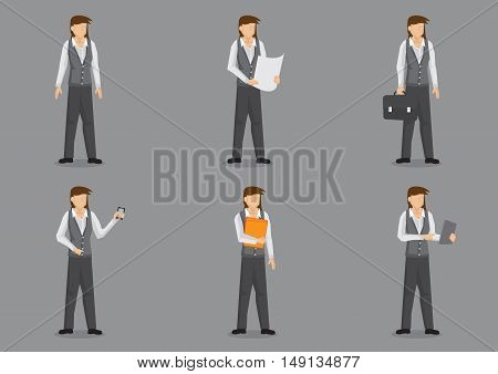 Set of six vector illustrations of female office worker dressed in shirt vest and pants isolated on grey background.