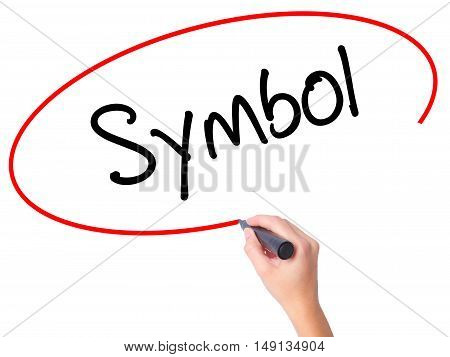 Women Hand Writing Symbol With Black Marker On Visual Screen