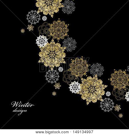 Winter golden circle corner design with gold and white snowflakes and stars and black background. Round frame gold design. Vector illustration.