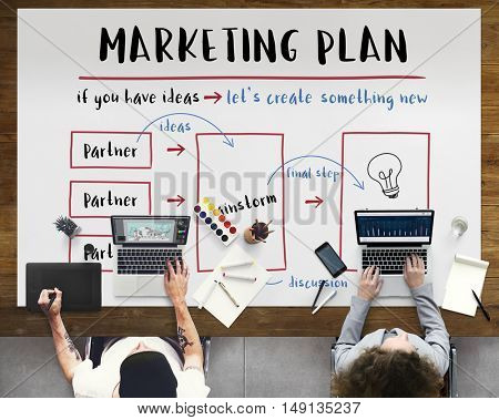 Marketing Plan Business Strategy Diagram Concept