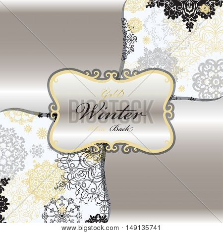 Winter seamless pattern with gold and white snowflakes and stars and silver background. Vintage silver label and winter text place. Trend silver design. Vector illustration.