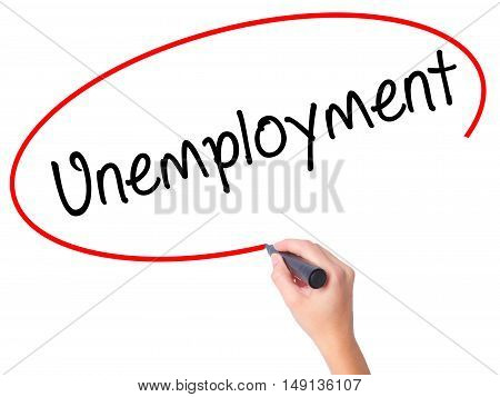 Women Hand Writing  Unemployment With Black Marker On Visual Screen