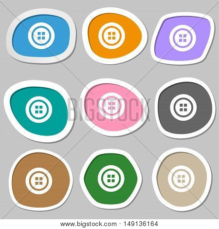 Sewing Button Symbols. Multicolored Paper Stickers. Vector