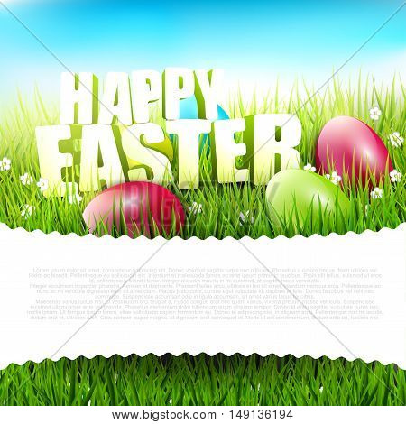 Easter background with Happy Easter sign in the grass and with place for text