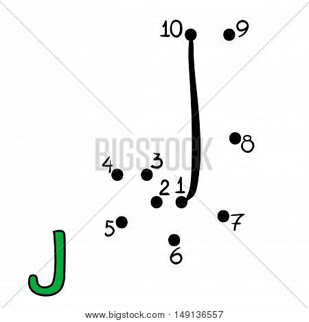 Numbers game for children, education dot to dot game, Letter  J