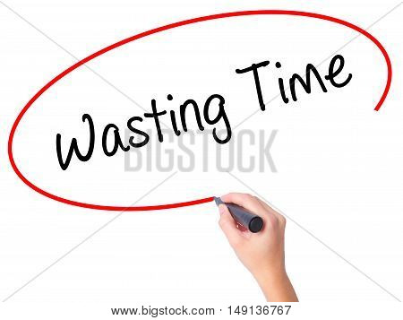 Women Hand Writing Wasting Time With Black Marker On Visual Screen