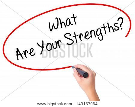 Women Hand Writing What Are Your Strengths? With Black Marker On Visual Screen