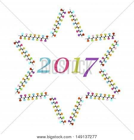 Christmas card template with colored christmas garland star. Vector illustration Christmas greeting card 2017. Christmas greeting winter garland star decoration for celebration party vector.