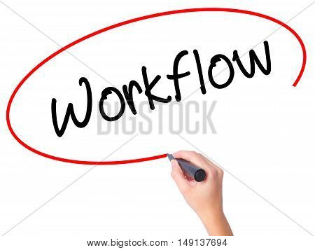 Women Hand Writing Workflow  With Black Marker On Visual Screen.