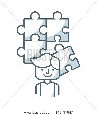puzzle pieces game flat icon vector illustration design