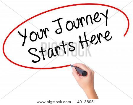 Women Hand Writing Your Journey Starts Here With Black Marker On Visual Screen