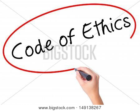 Women Hand Writing Code Of Ethics With Black Marker On Visual Screen