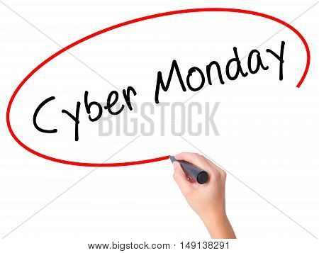 Women Hand Writing Cyber Monday With Black Marker On Visual Screen