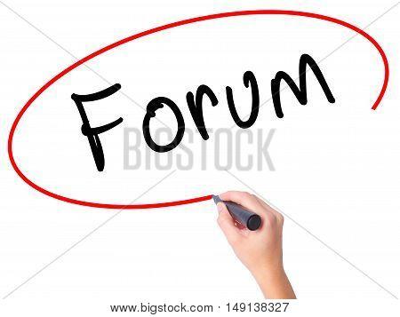 Women Hand Writing Forum Black Marker On Visual Screen