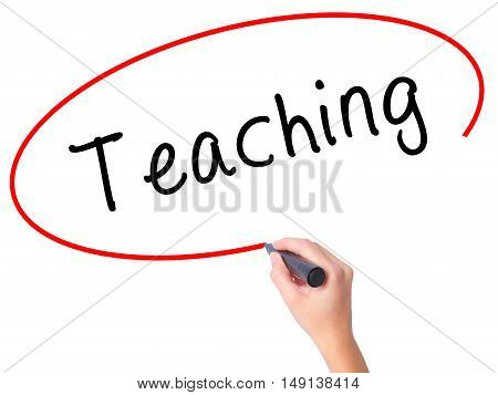 Women Hand Writing Teaching With Black Marker On Visual Screen