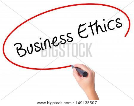 Women Hand Writing Business Ethics With Black Marker On Visual Screen
