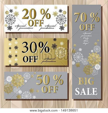 Big sale, discount card, gift certificate or voucher, coupon template with golden snowflakes. Holiday background mock for banner or ticket. Gold silver background for winter sale. Vector illustration.