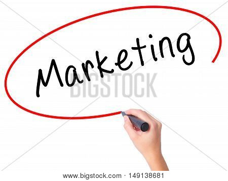 Women Hand Writing Marketing With Black Marker On Visual Screen