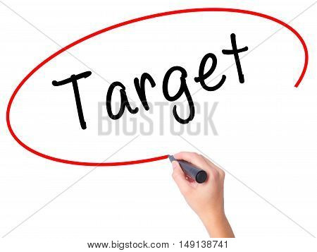 Women Hand Writing Target With Black Marker On Visual Screen