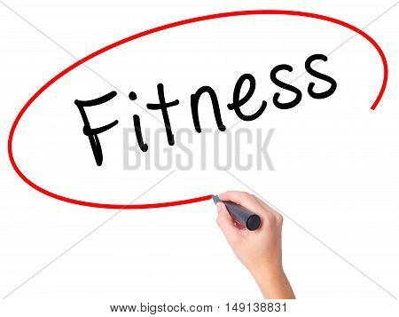 Women Hand Writing Fitness With Black Marker On Visual Screen