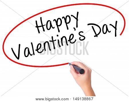 Women Hand Writing Happy Valentine's Day With Black Marker On Visual Screen