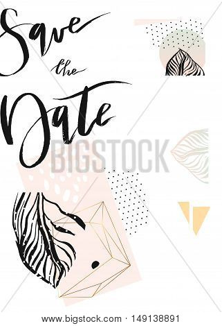 Hand drawn vector abstract modern tropical minimalistic save the date card template.Weddingmarriagesave the datebaby shower bridalbirthdayValentine's day.Stylish simple design.Poster template.