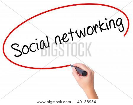 Women Hand Writing Social Networking With Black Marker On Visual Screen