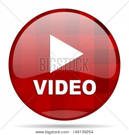 video red round glossy modern design web icon