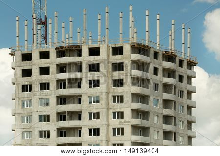 Building construction on sky background