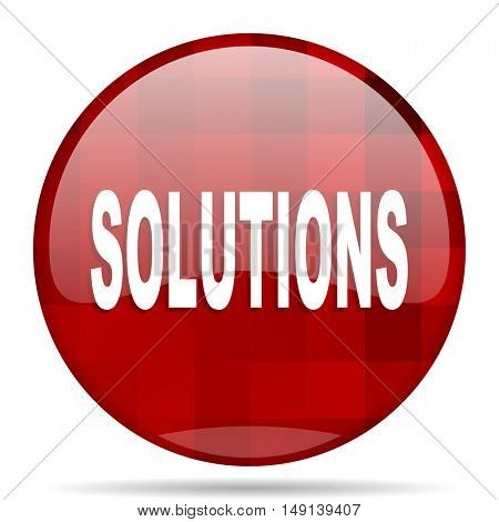 solutions red round glossy modern design web icon