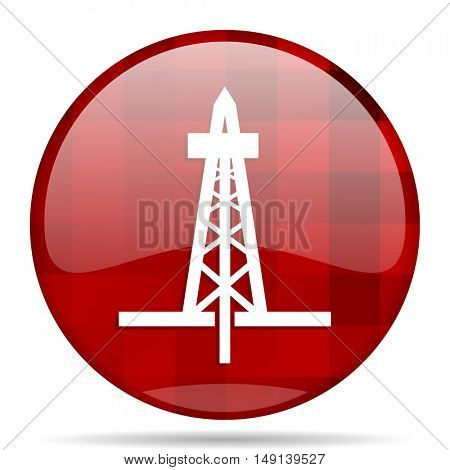 drilling red round glossy modern design web icon