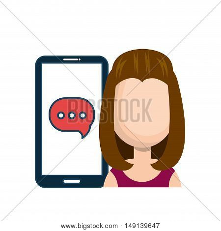 avatar girl smartphone bubble chat talk social network vector illustration