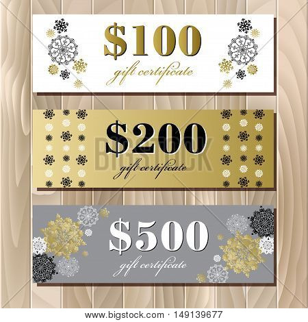 Gift certificate, big sale, discount card or voucher, coupon template with golden snowflakes. Holiday background mock for banner or ticket. Gold luxury background for winter sale. Vector illustration.