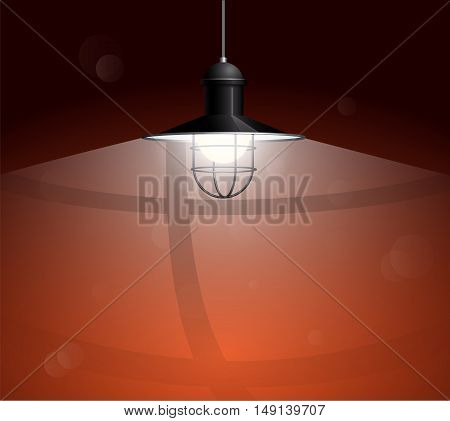 Ancient black lamp hanging on the wire. Big and empty space illuminated on the dark red wall. Vector illustration of lighting.