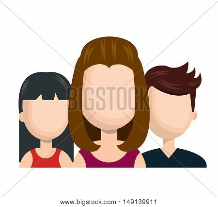 avatar women and guy social network team graphic vector illustration
