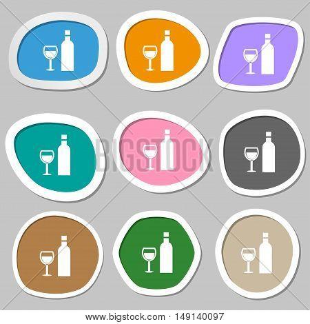 Wine Icon Symbols. Multicolored Paper Stickers. Vector