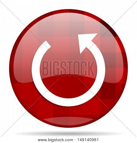 rotate red round glossy modern design web icon