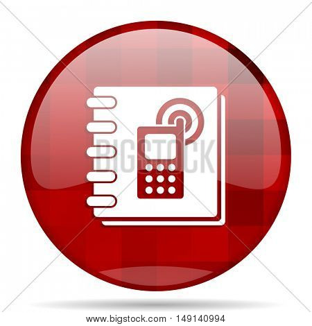 phonebook red round glossy modern design web icon
