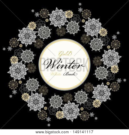 Winter silver circle wreath background with gold and white snowflakes and stars and black background and label with text plase. Round frame silver design. Vector illustration.