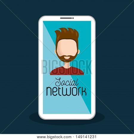 avatar male smartphone social network vector illustration
