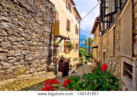 Old stone town of Hum street view Istria Croatia