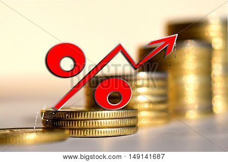 Red percent sign on a background of money . The concept of price changes on the real market .