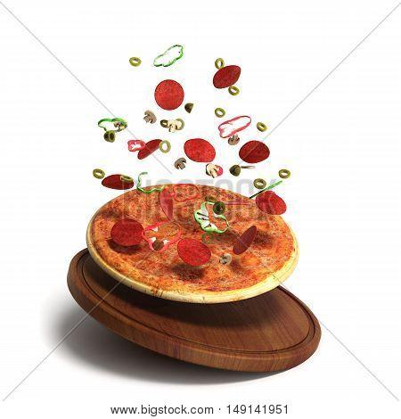 Delicious Italian Pizza 3D Render Over White