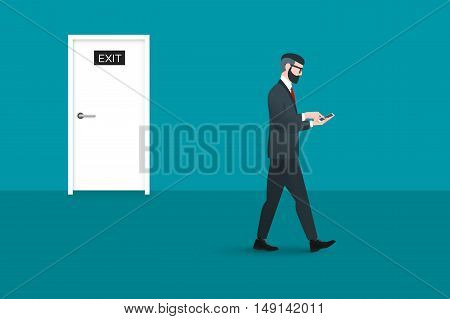Trendy nerd hipster pedestrian walks past a door marked exit. This businessman wearing solid suit and holding smartphone in hands. He is busy looking for something. Business conceptual illustration.