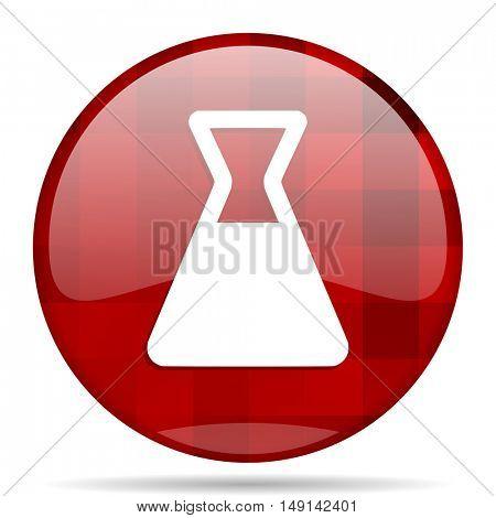 laboratory red round glossy modern design web icon